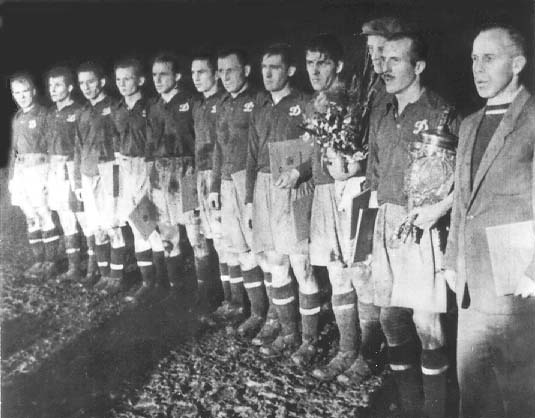 Dynamo with their first ever silverware, the 1954 Soviet Cup