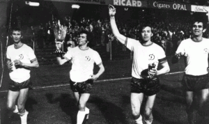 Dynamo players celebrate their 1975 Cup Winners' Cup triumph